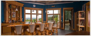 After a day of hiking, guests can relax and take in the panoramic vista from lounge at Inn at Wawanissee Point.