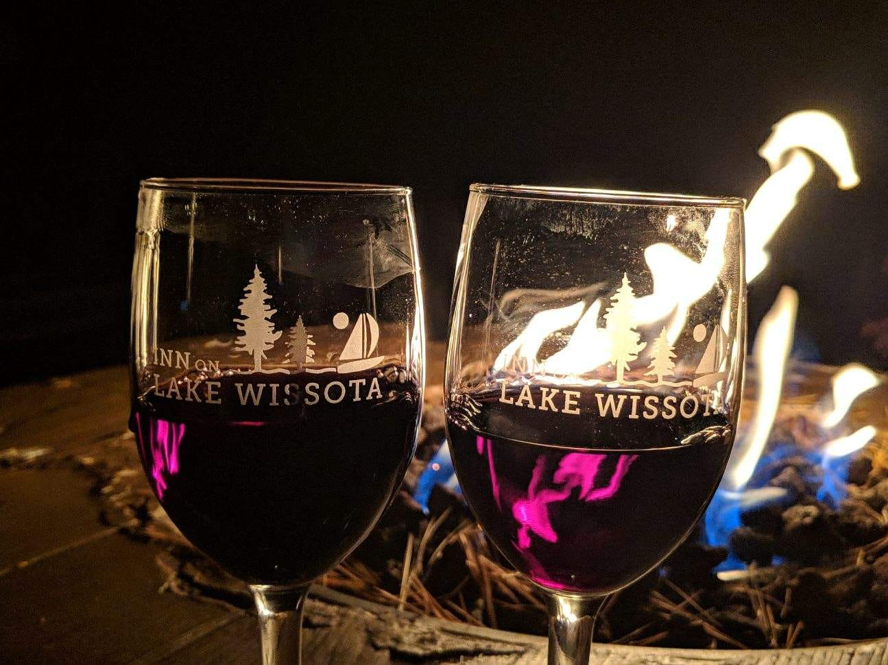 IOLW Wine Glasses in front of fire romantic getaway